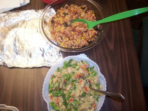 Quinoa salad and a bean dish with corn and peppers