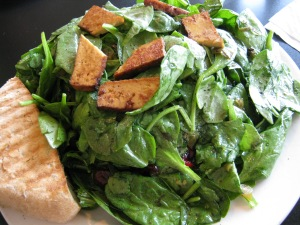 Spinach Salad with Organic Tofu & Dried Cranberries